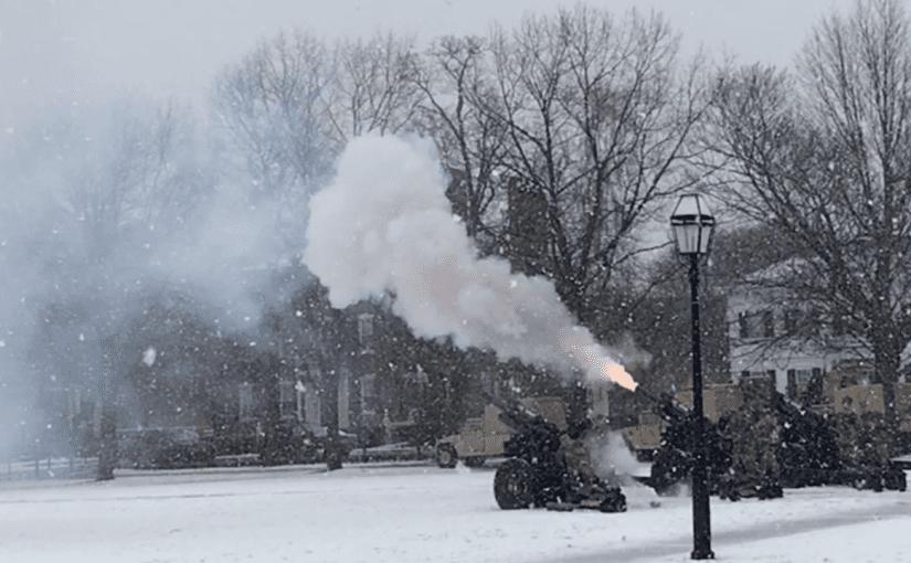 Air National Guard gun salute in the snow