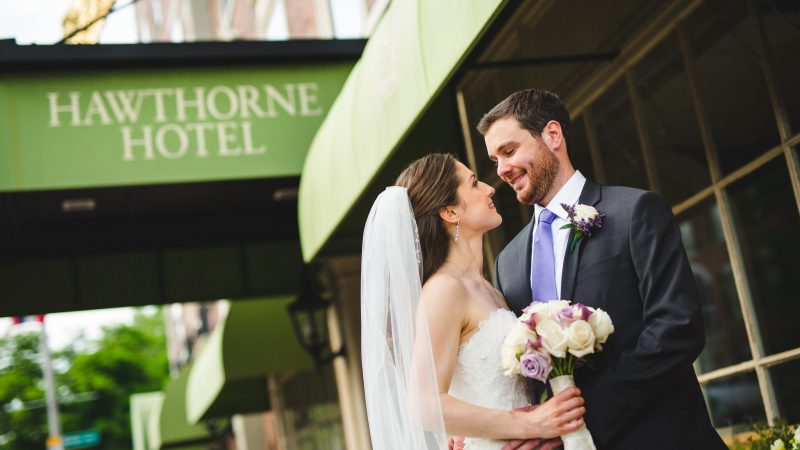 Bride and Groom Outside the Hawthorne Hotel